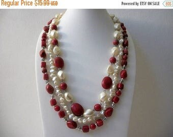 ON SALE Retro Triple Strand Molded Faux Pearls Plastic Necklace 71017