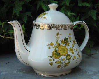 Vintage Floral Sadler Ceramic Teapot; Made in England