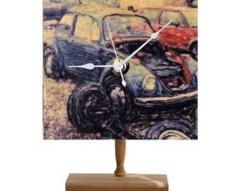 VINTAGE VOLKSWAGEN BEETLE Gel Transfer Photo Clock on Wood with Handmade Stand