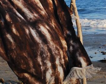 Luscious Linen Shibori Throw Blanket in Dark Mauve