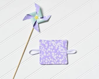 Purple and White Flowers Door Latch Cover // Floral Door Silencer // Made in Canada