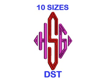 Diamond Monogram Embroidery Font Set - 10 Size - DST Format Embroidery Alphabet - Embroidery Letters - Machine Embroidery Designs Patterns
