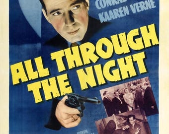 Back to School Sale: All Through the Night 1942 Thriller/Action Movie POSTER Humphrey Bogart