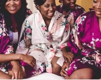 Bridesmaid Robes, MIX Colors, Bridesmaid Gift, Kimono Robe, Bridal Party Robes, Set of Bridesmaids Robes, Wedding Robe, Silk Bridesmaid Robe
