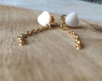 Pure Heart White and Gold Passion Stud Dangle Earrings - Pure Jewelry - Simple Earrings - Gifts for Her