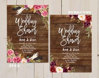 boho wedding shower invitation, rustic floral wedding shower invite, boho wedding shower invitation, boho wedding party shower invitation