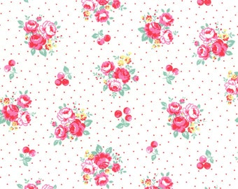 1/2 yard Lecien Japan Flower Sugar Berry Fall 2017 Collection | White Floral & Dots | # 31514L-10
