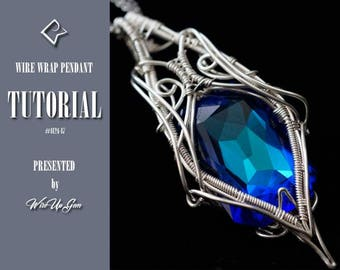 Wire Wrapped pendant, Swarovski rhinestone #4627, tutorial, wire wrap tutorial, PDF tutorial, Wire wrapping tutorial, Wire wrap PDF.