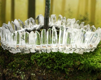 clear quartz crystal crown, silver circlet, crystal diadem, boho bridal halo headpiece, crystal moon hair accessories, celestial wedding