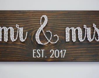 Mr & Mrs String Art, Wedding Gift, Mr and Mrs Sign