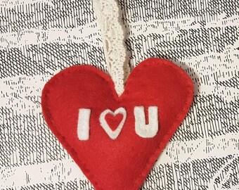 Handmade Valentine's Stuffed Felt I Love You Heart