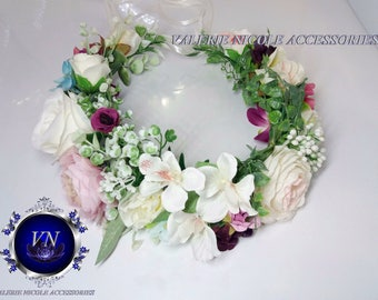 White Purple Flower crown Bridal flower crown Floral crown  Flower hair wreath Flower halo Bridesmaid crown