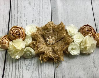 Maternity Sash / Bridal Sash / Rustic Sash / Shabby Chic Sash / Burlap Sash / Baby Shower Sash / Wedding Sash / Flower Girl Sash / Sash