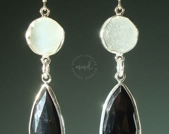 All Natural White Druzy and Black Onyx Teardrops with Sterling Silver, Statement Earrings