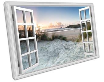 print on canvas wall art Window View sand dunes at Crantock beach print English Sea Coast Seascape Art - X2396