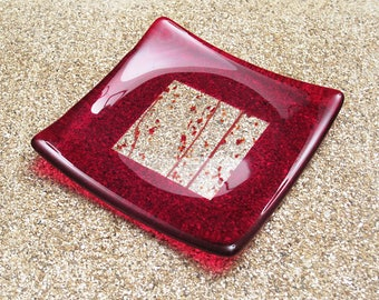 Red Fused Glass Plate with a Clear and Red Confetti Center
