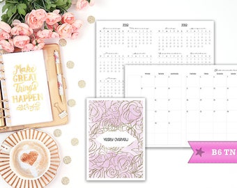B6 TN 2018 Mo2P dated Monday start - month on 2 pages - Travelers Notebook - Printable Insert