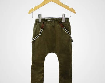 Harem Pants with Suspenders - Olive Green