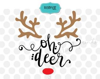 Oh deer svg, Reindeer svg, christmas svg, rudolph svg, rudolf svg, deer svg, svg files for cricut, reindeer cricut, svg cut files   cr52