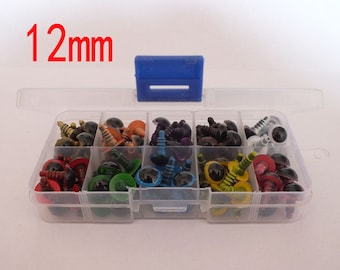 100pcs 10 color mixed color safety eyes with box with wahser,animal eyes -12mm