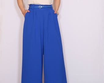 High waist Wide leg pants formal Cobalt blue pants with pockets