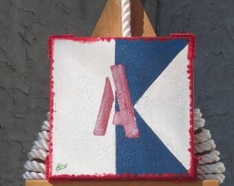"""Signal Flag """"A"""" nautical print"""