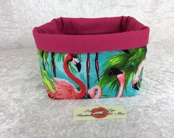 Flamingos Fabric basket short reversible organiser bin storage sewing. Handmade in England