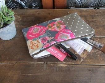 Make-up or Pencil Bag, Pink Floral with Tan Dots, Zipper Storage Bag, Fabric Make Up Bag, Long Rectangle Make Up Bag