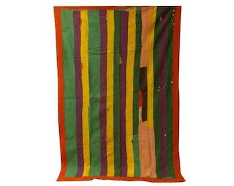 Bohemian Vintage Handmade Kantha Quilt,Ethnic Indian Kantha Throw,Strip vintage kantha Blanket