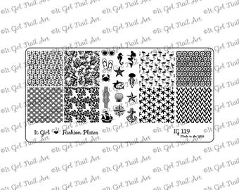 IG119 Nail Art Stamping Plate - summer, nautical, tropical, mermaid, coral