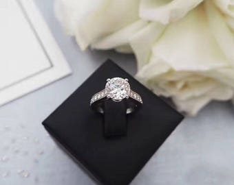 2 Carat Moissanite Engagement Ring With Diamond Halo Moissanite Ring White Gold Ring Diamond Ring Moissanite Jewelry Round Moissanite Ring