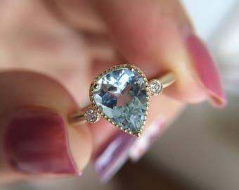 1.2 Carat Aquamarine Engagement Ring Blue Stone Ring White Gold Ring Diamond Ring Pear Aquamarine Ring Yellow Gold Ring Aquamarine Diamond