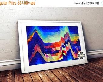 Geometric Painting, Watercolor Art,Home Decor, Wall Art, Indigo Art, Abstract Art, Beach Art, Abstract painting, Modern Art, Art Print