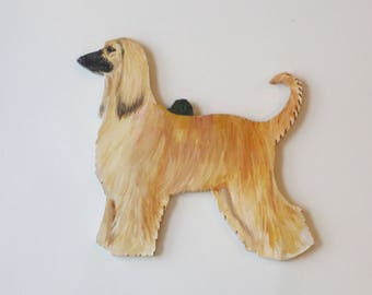 Hand Painted AFGHAN Hound Ornament - Light Coat - Artist Original!