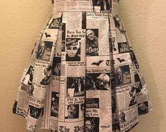 Monster Times Newspaper Printed Adult High Waisted Skater Skirts