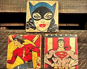 DC Superheroes Superman Batgirl Flash Handmade Stone Drink Coaster Set Decorative Tile Gift by GalloGraffiti