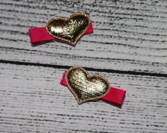 hearts hair clips set of 2