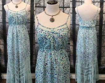 Vintage 90'S Blue Floral Summer Dress By Candies *FREE SHIPPING*