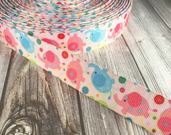 Elephant ribbon - Blue elephants - Pink elephants - Grosgrain ribbon - Elephant theme - Elephant nursery - Elephant crafts - Pretty ribbon