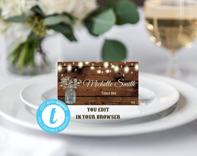 Rustic Place Card Template, Escort Card Template, DIY Wedding, You Edit, Editable Name Card, Name Card, Seating Card, Rustic,Rustic Template
