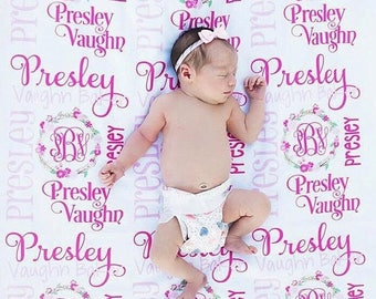 SALE Baby Girl Blanket- Personalized Baby Blanket - Monogram Baby Blanket - Swaddle Receiving Blanket - Baby Shower Gift - Custom Blanket