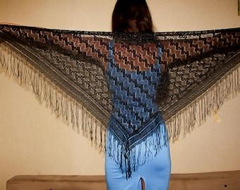 Black Lace Shawl Fringed Shawl Russian Shawl Scarf Bohemian Shawl Belly Dance vintage lace boho shawl triangular shawl evening black shawl