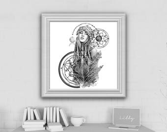 PRINT  Head in Space Girl a4 size geometric universe galaxy space constellation