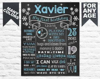 Winter Onederland first birthday chalkboard sign - snowflakes 1st sign poster banner milestone chalk board 2nd 3rd boy PRINTABLE (396)