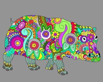 Digital Art Print. Hippo print.