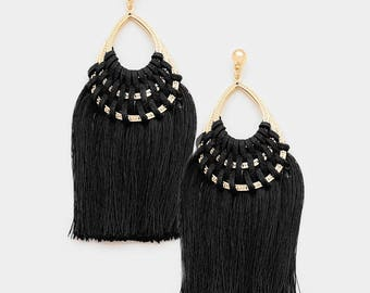 Black Woven Thread Teardrop Tassel Earrings