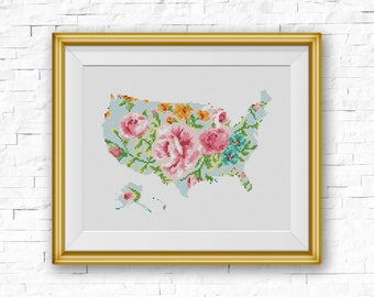 Bogo Free Usa Map Cross Sch Pattern Floral United States Silhouette Map Xsch
