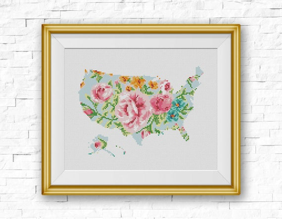 BOGO FREE USA Map Cross Stitch Pattern Floral United States