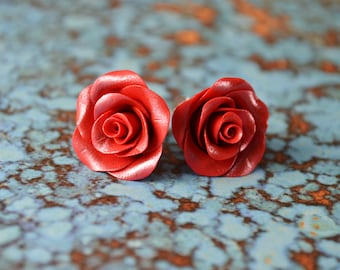 Red Roses. Polymer Clay Rose Earrings. Rose Studs. Flower Earrings. Gift for Her. Bridesmaid's Gift. Handmade Jewelry