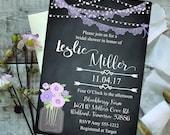 Digital Bridal Shower Invitation - Rustic - Chalkboard - Lights - Mason Jar - Floral - Lace - Printable - Personalized - 016